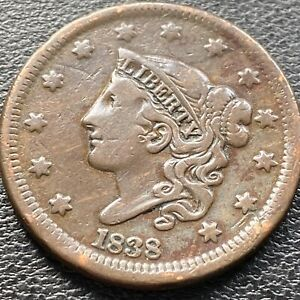 1838 Large Cent Coronet Head One Cent 1c Higher Grade XF #22645