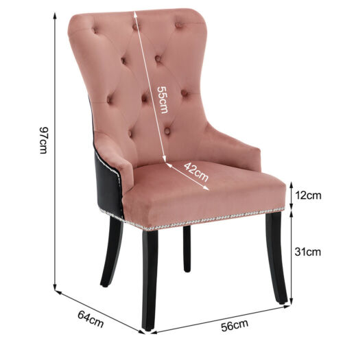 Kitchen Dining Chairs Set of 1/2/4 Plush Velvet Upholstered Twin Colour Chair UK Pink & Black,Grey & Black