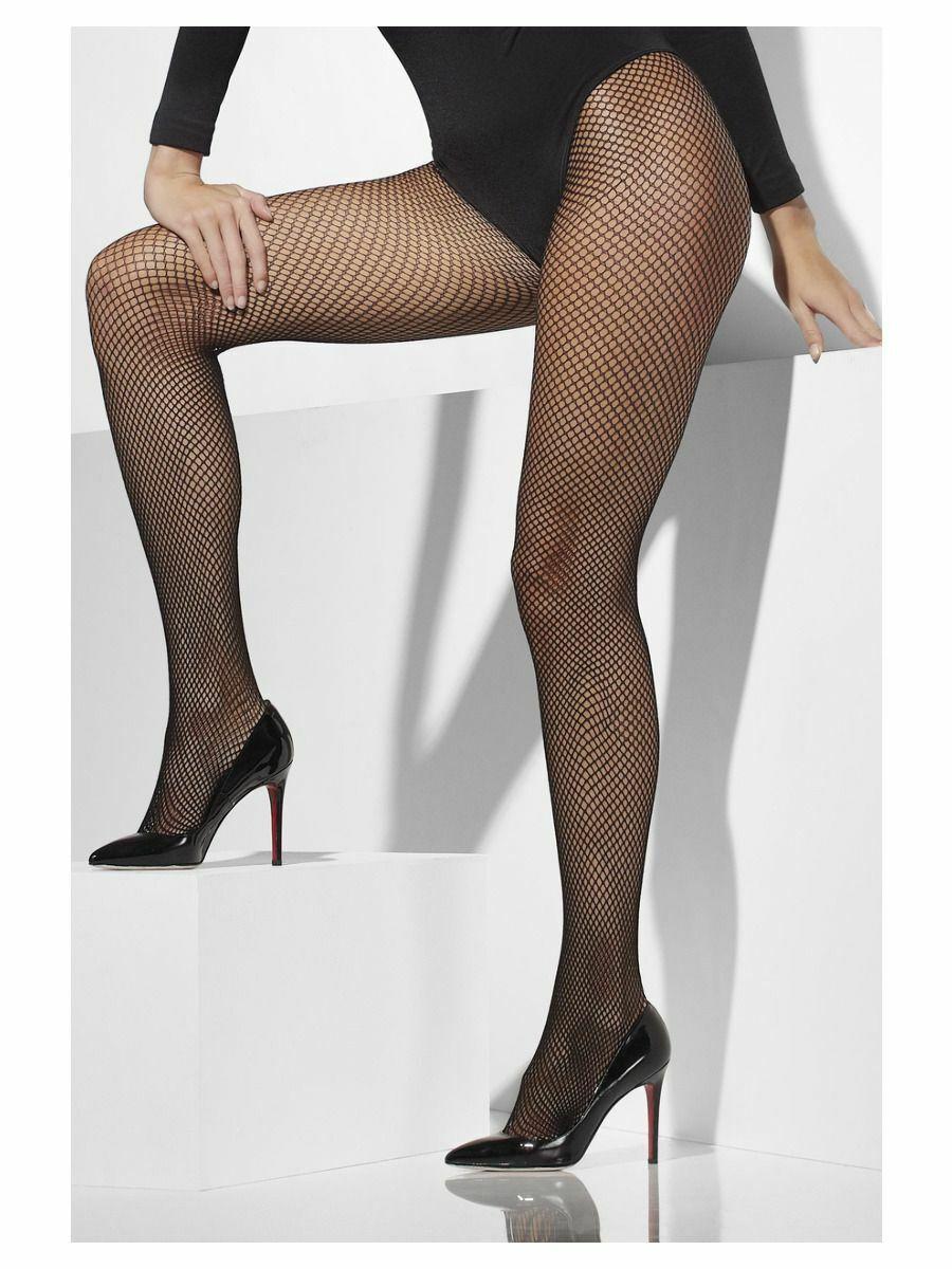 Smiffy's Black XL Fishnet Tights Plus Size Halloween Costume Fancy Dress
