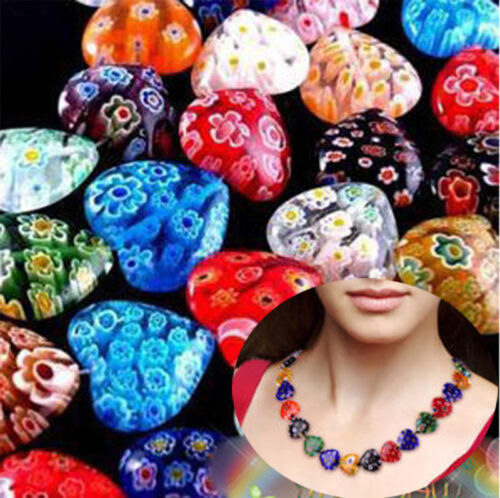 20//100PCS Colorful Heart Millefiori Glass Beads Gemstone For Jewelry Making