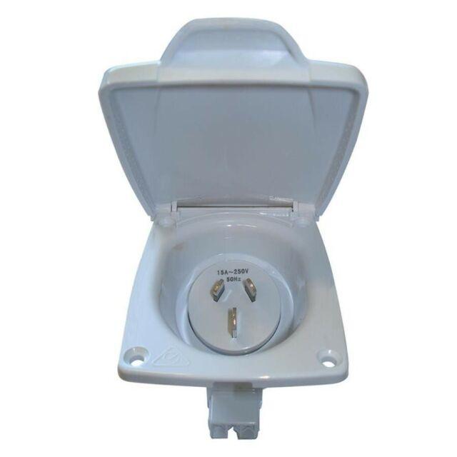 CMS 15Amp Plug Power Inlet IP44 for Caravan Camper Trailer Jayco 15A 15 Amp 240V