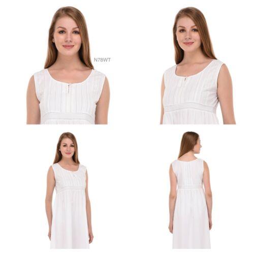Ladies 100/% Cotton White NightdressCotton Lane