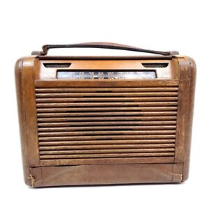 Vintage-1946-Philco-Tube-Radio-Portable-46-350-Wood-Leather-As-Is-for-Parts-Only