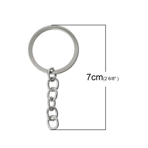 UK 10 QUALITY SILVER TONE SPLIT RING KEY CHAIN//BAG CHARM RING~70x32mm~Blank 40J
