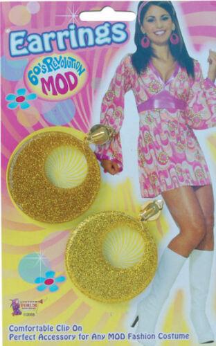 Orecchini 60/'S ANNI/'60 ORO GLITTER MOD ANNI SETTANTA/'70 FANCY DRESS