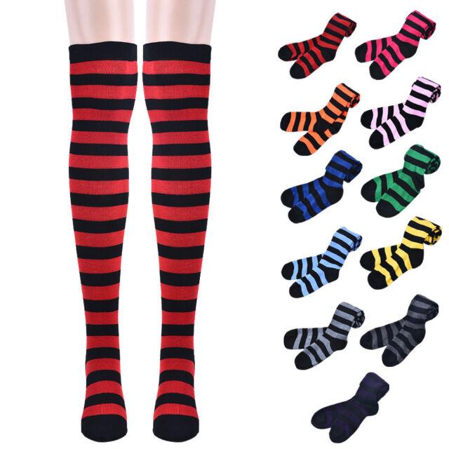 New Arrival Thick Thigh High Socks Over Knee Girls Fringe Socks Stripes Pattern