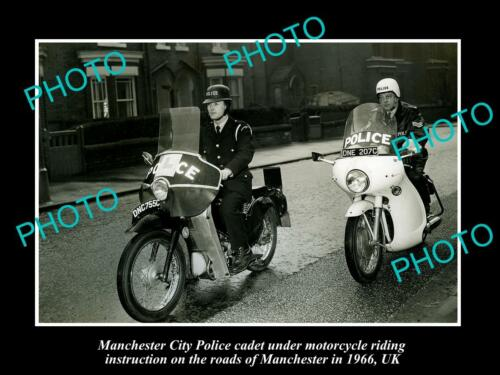 OLD LARGE HISTORIC PHOTO OF MANCHESTER CITY POLICE MOTORCYCLE UNIT c1966 UK