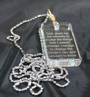 Serenity Prayer Crystal Dog Tag Necklace