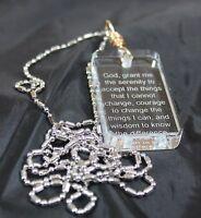 Serenity Prayer Crystal Dog Tag Necklace