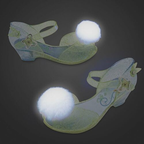 Disney Store Deluxe Tinkerbell Light Up Puff Pom Pom Shoes Tinker Bell NEW