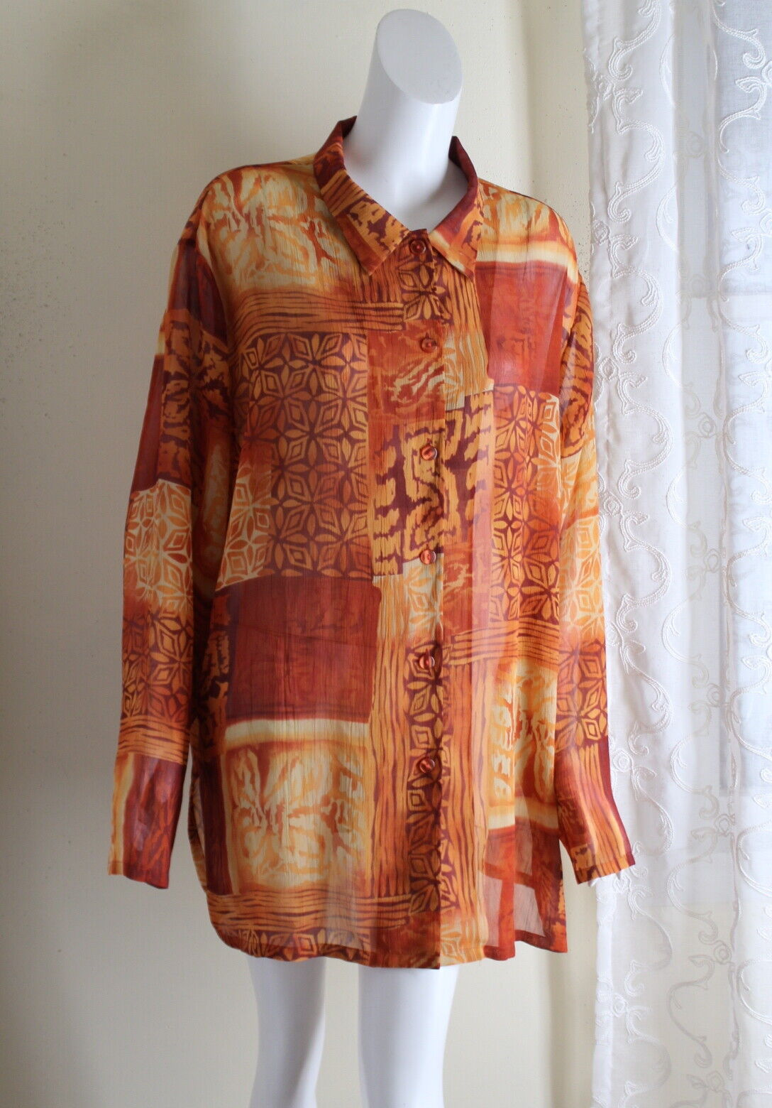 Coldwater Creek -Sz 3X Fine Sheer Long Flowing Top Cruise Topper Artsy Jacket