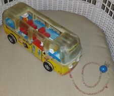 Vintage Fisher Price Little People School Bus Safety 983 Wooden Original Pulltoy