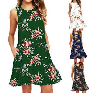 Women-039-s-Summer-Casual-Sleeveless-Printed-Swing-Mini-Dress-Sundress-with-Pocket