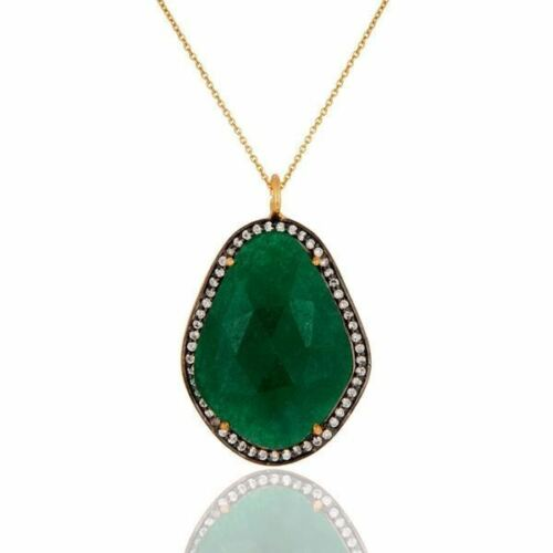 14K Gold Plated 925 Sterling Silver Green Aventurine CZ Pendant Jewelry