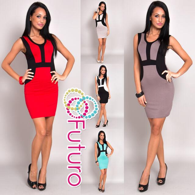 Women's Mini Dress Scoop Neck Bodycon Sleeveless Pencil Tunic One Size 8-12 8469