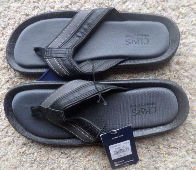 5d2753171cb27 Chaps Men's Flip Flop Beach Sandals Black Size Large 10/11nwt