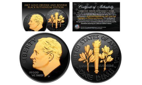 Genuine Silver BU Roosevelt Dime with 2-Sided 24K Black RUTHENIUM 1950s U.S