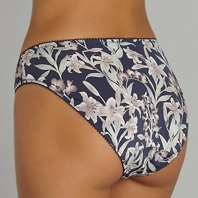Charnos Deco Lily Low rise Bikini Briefs Panties Navy Floral 10 12 14 16 18