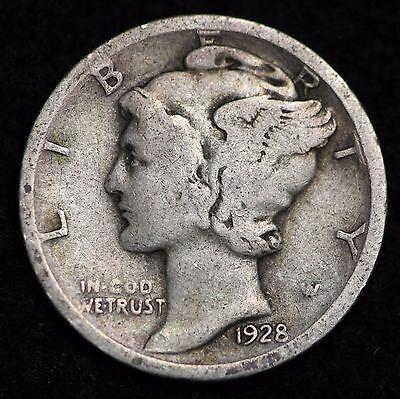 Circulated 90/% Silver US Coin 1928-S Mercury Dime