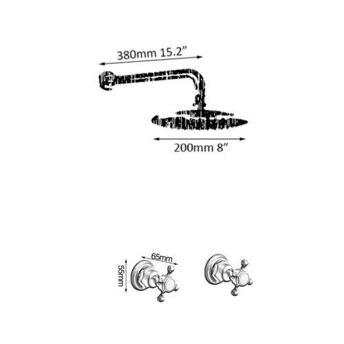 "8/"" Round Antique Brass Rain Shower Head 2 Handles Control Mixer Shower Faucet"