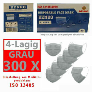 300 Stück ISO NORM Zeichen Schutz-Masken Mundschutz-Maske 4 Lagig Einwegmaske