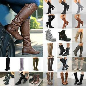 Women-s-Winter-Leather-Flat-Thigh-Knee-High-Casual-Boots-Riding-Biker-Shoes-Size
