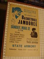 Original 1950's NH BASEBALL JAMBOREE POSTER w BABE RUTH misprinted ORIGINAL