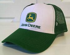 John Deere Green & White Fabric & Mesh Hat Cap with Vintage Logo Snapback