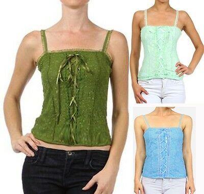 New Sparkle Lace Tank Summer Top Corset Inspired Blouse XS - 3X Fashion Central