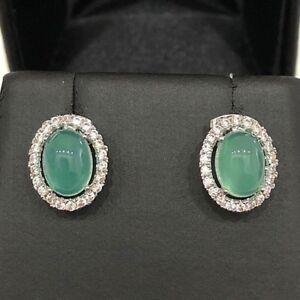 AAA-Natural-Green-Jade-Diamond-Earrings-Solid-925-Sterling-Silver-Women-Jewelry