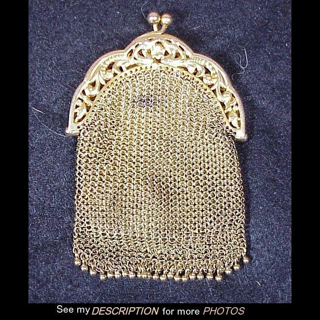 Antique Victorian 14K gold Miniature Mesh Coin   Pill Purse 24.4 dwt 32 gram