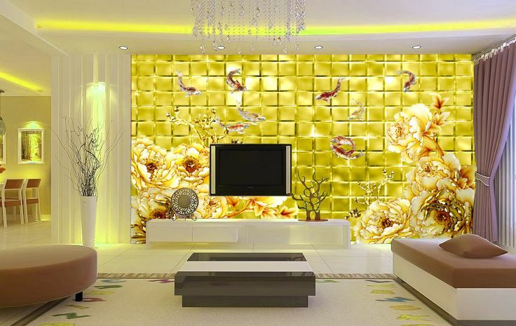 3D Yellow Peony Blossom Wallpaper Decal Decor Home Kids Nursery Mural  Home