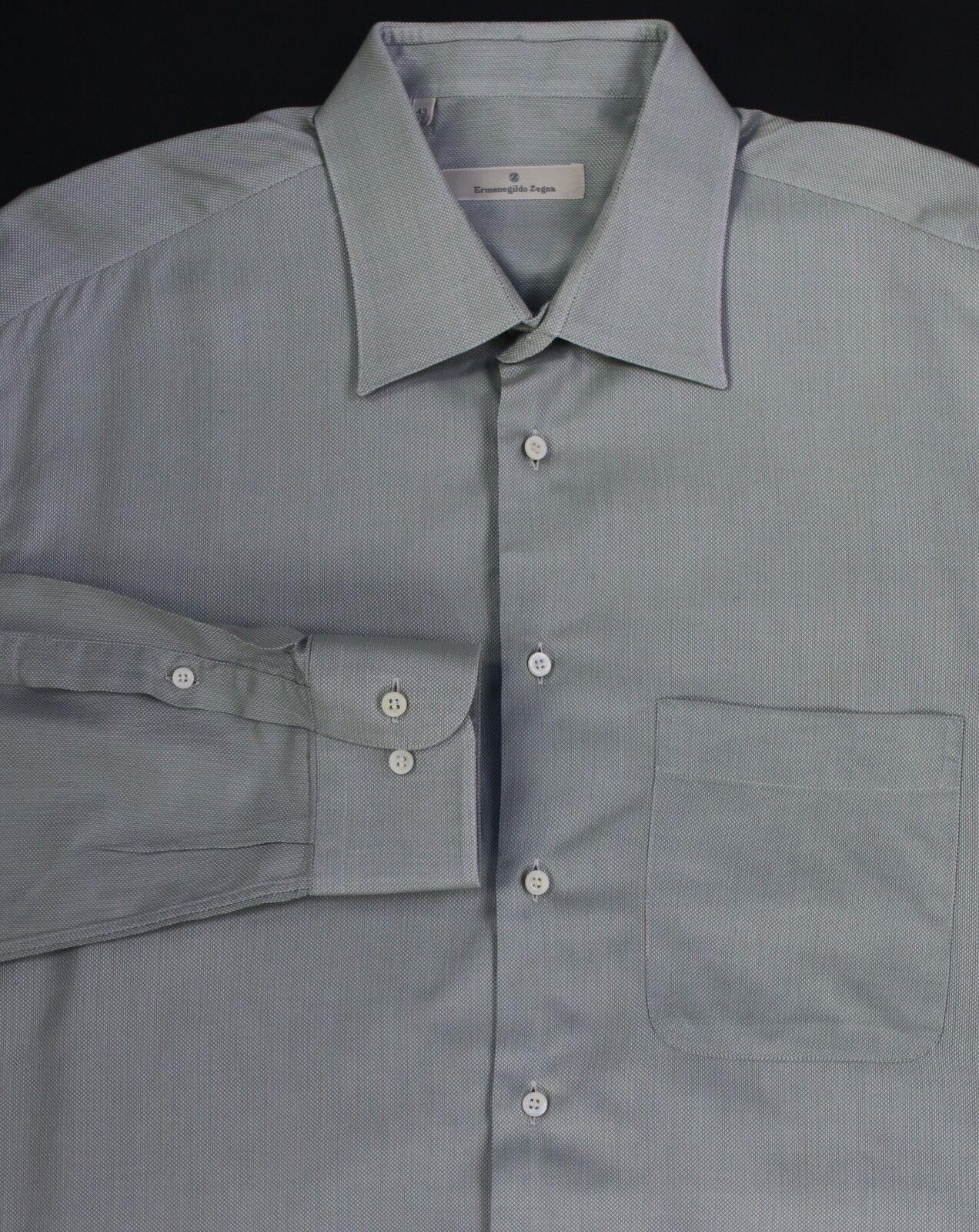 ERMENEGILDO ZEGNA  Recent Green Woven Cotton Dress Shirt Long (43) 17-37