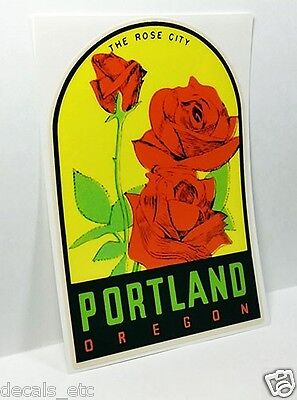 "Portland Oregon ""Rose"" Vintage Style Travel Decal, Vinyl Sticker, luggage label"
