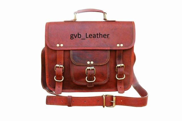 Vintage Black Leather DSLR Camera Bag Briefcase Satchel Messenger Shoulder Bag Unisex