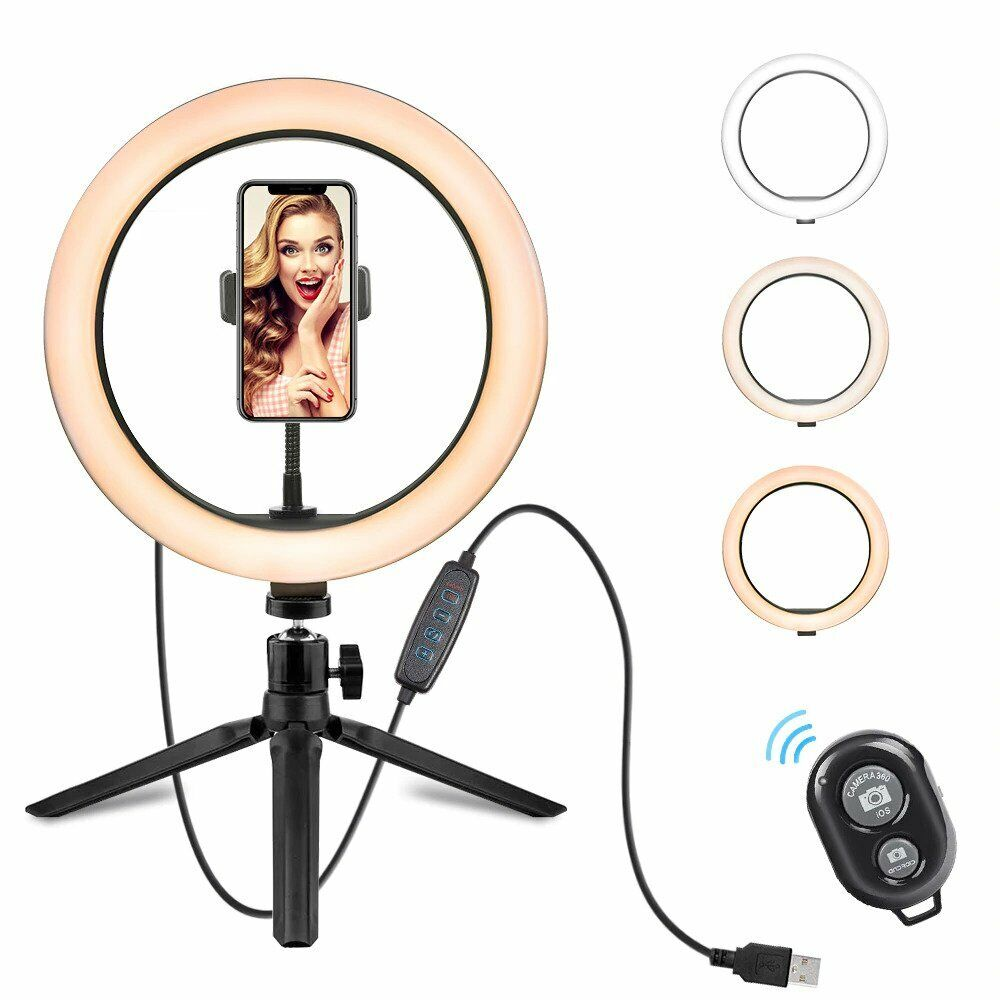 10 inch LED Ring Light with Stand & Phone Holder – Makeup Beauty Vlogging Video