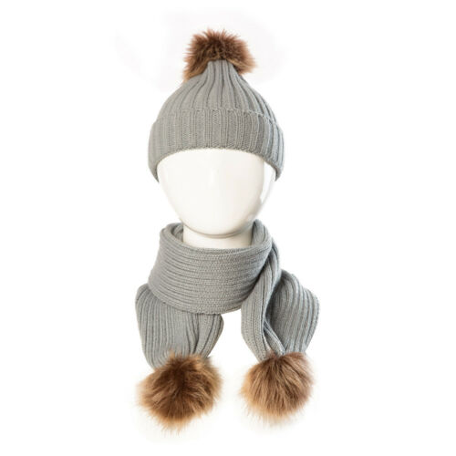 2PCS Newborn Baby Boy Girls Winter Warm Pom Bobble Knit Beanie Hat+Scarf Set KI