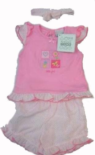 Baby Girls Pink Shorts Top Hairband Summer Set 0-3 6-9 Months LP