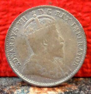 Beautiful-High-Grade-1907-King-Edward-VII-Silver-5-Cent-from-Canada-KM-13