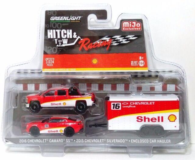 GREENLIGHT 1:64 Hitch /& Tow Racing 2016 CHEVY CAMARO 2015 SILVERADO Shell Hauler