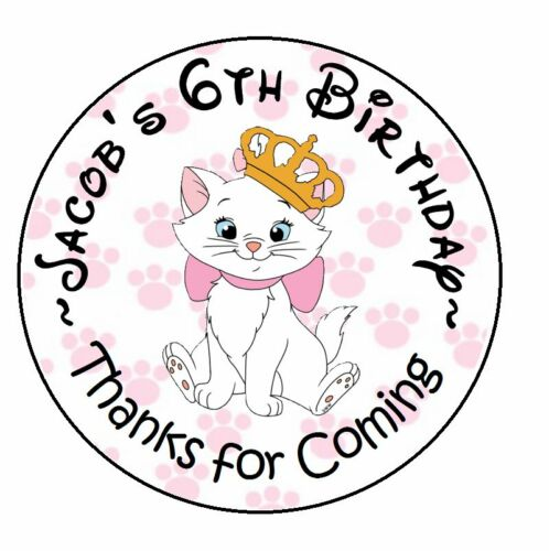 ARISTOCATS BIRTHDAY PERSONALIZED ROUND PARTY STICKERS FAVORS ~ VARIOUS SIZES