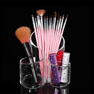 Makeup Storage Box Cylindrical Case Lipstick Brush Pen Holder Organizer Acrylic