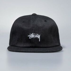 b4b2c6d5ed1 Image is loading STUSSY-LOGO-MELANGE-DENIM-SNAPBACK-CAP-BLACK-EMBROIDERY-