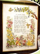 "Vintage Paragon ""My Mother's Garden"" Crewel Embroidery on Linen Sampler Kit"