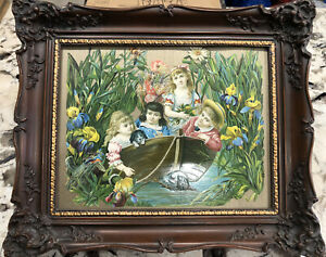 Antique Victorian Greeting Cards Ornate Art Picture Frame Wood Carved Women Girl