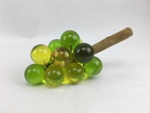 Vintage-Mid-Century-Lucite-Acrylic-Green-amp-Gold-Grape-Cluster-On-Driftwood