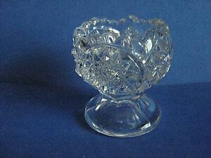 DUNCAN & MILLER GLASS PEDESTAL HOMESTEAD PATTERN OPEN SALT CELLAR, c1900-05