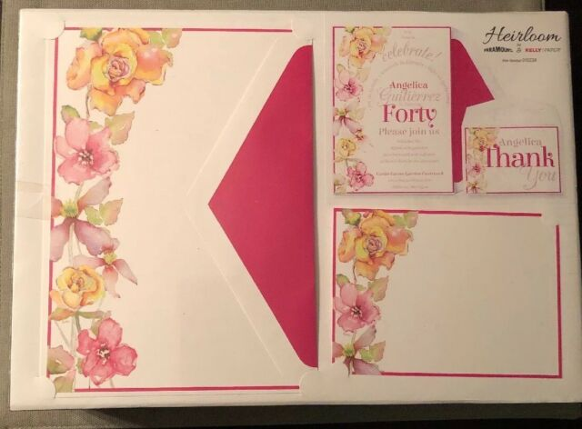 50 Watercolor Flowers Pink Border Wedding Invitations Birthday Party Complete