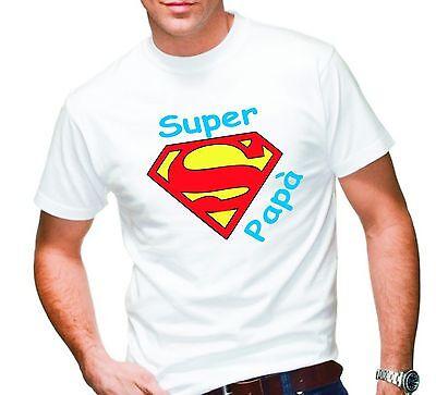 """T-shirt Maglietta Uomo """"super Papa'"""" Idea Regalo Festa Del Papa' Gradevole Al Gusto"""