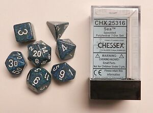 Image is loading Chessex-7-Dice-Set-Speckled-Sea-CHX-25316-